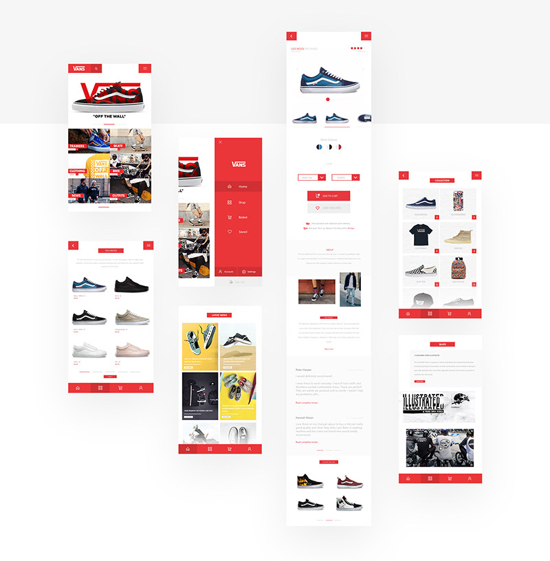 Vans Off the wall - web app concept - Boteco Design