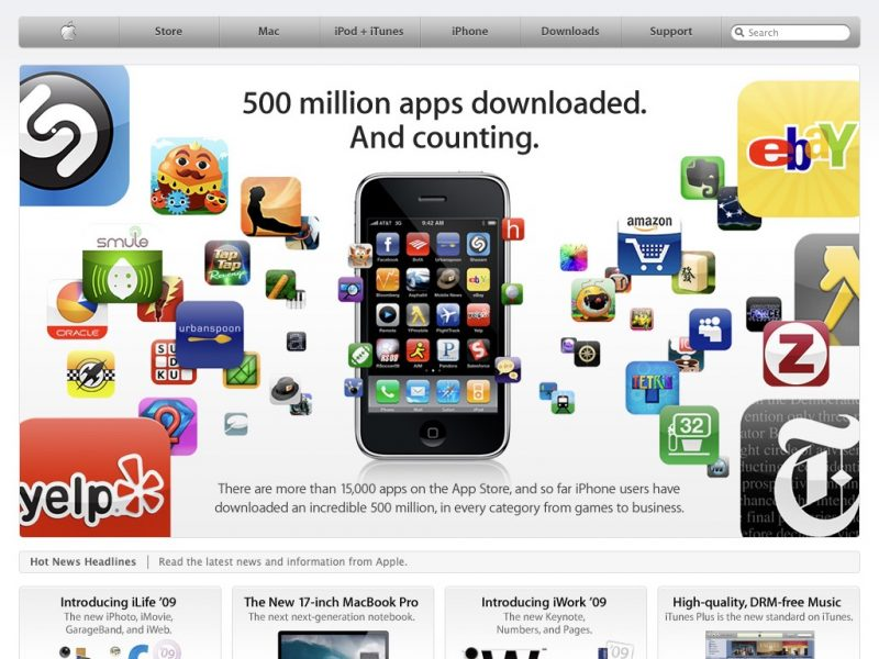 10 year challenge - sites Apple 2009