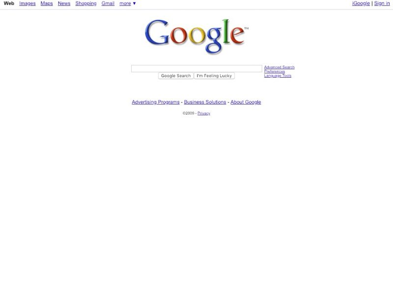 10 year challenge - sites Google 2009